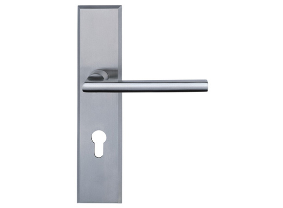 Straight Door Handles On Plate - Satin Stainless Steel
