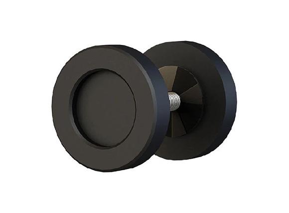 wooden round short solid steel 50 mm Diameter Barn Door Finger Pull Knob Surface Mount Twin Handles Door Knob